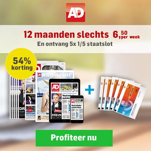 Met AD Dagblad grote prijzen winnen! Nu 54% korting €6.50 i.p.v. €16.- p/w. Ontvang 5x 1/5 staatsloten cadeau. De krant 6 dagen per week in de bus.