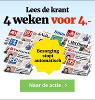 Het laatste nieuws! 4 weken je krant naar keuze gratis in de bus. De kosten zijn €1.- per week betaal totaal maar €4.-.
