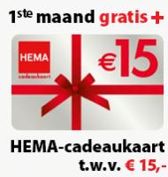 Postcode loterij 1e maand + HEMA bon gratis