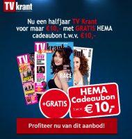 Gratis HEMA cadeaukaart t.w.v. €10,- bij de Tv krant. 26 weken voor maar €10.-!