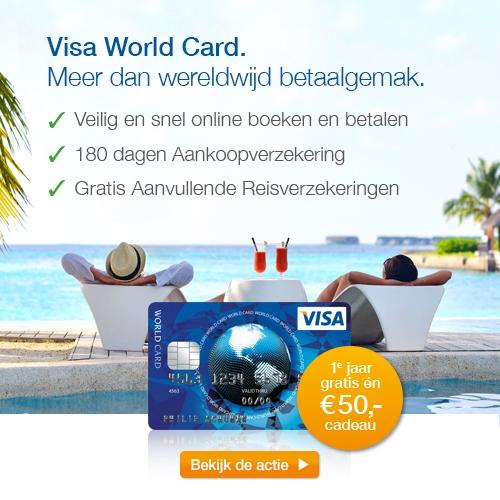 Visa World Card Actie!Ga voorWereldwijd betaal gemak en ontvang een gratis Bol.com cadeaubon t.w.v. € 50.-.Nu 1 jaar gratis en € 50.- cadeau.