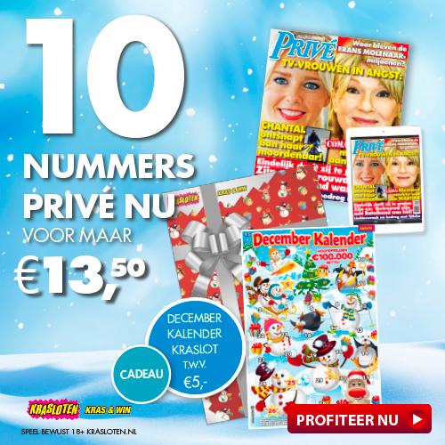 Roddelblad Privé met Gratis december kraslot t.w.v. €5,-