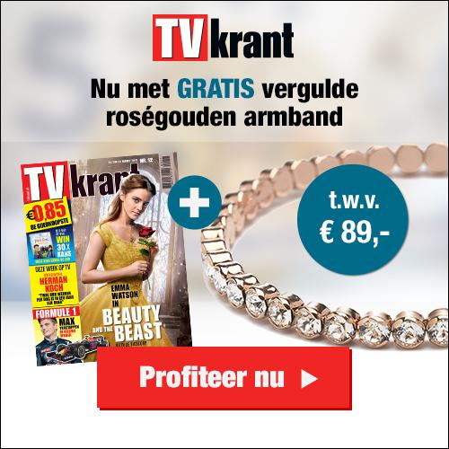 De TV krant 6 maanden gratis + roségouden armband gezet met kristallen van Abrazi t.w.v. € 89,- gratis!