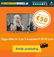 Ziggo Alles-in-1 goedkoper dan bij Ziggo! € 50.- retour.