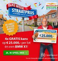 Postcode loterij straatprijs actie met elke week € 25000.-