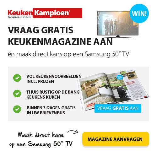"""Vraag een gratis Keukenmagazine aan en win een Samsung 50"""" televisie."""