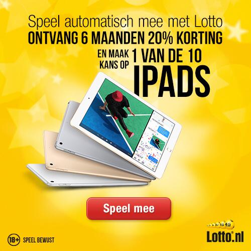 Speel voor een klein bedrag per maand de Lotto en ontvang 20% korting en maak kans op een van de 10 iPads.