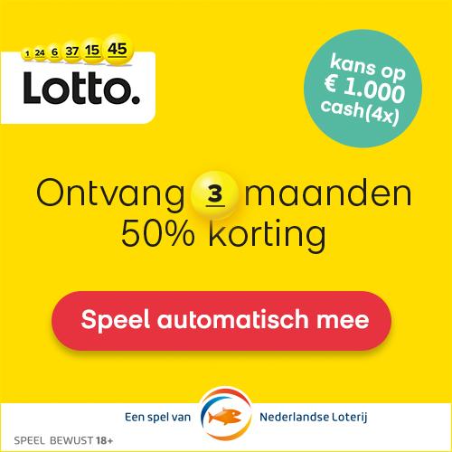 Lotto trekking met 50% korting + kans € 1000.- cash