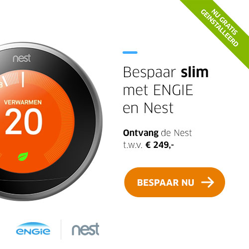 Gratis een Nest thermostaat + installatie t.w.v. € 249.-