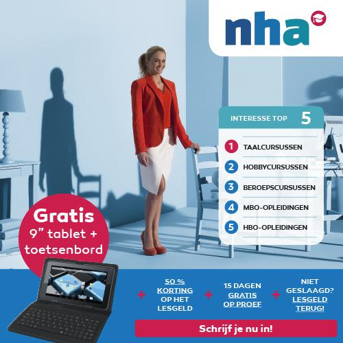 Een NHA opleiding die bij jou past! Nu met gratis tablet, 50% korting + 15 dagen op proef. Niet geslaagd is lesgeld retour!