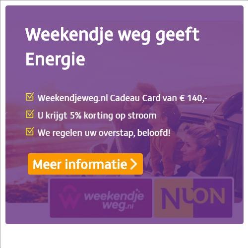 Beste energieleverancier geeft een gratis weekendje weg ter waarde van € 140.-. Stap over naar Nuon en profiteer van het goedkoopste stroom en gas en maak er een leuk weekend van!
