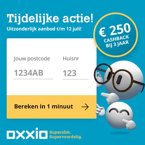 Ontvang bij Oxxio €250.- cash retour! Een super Cashback bij 1 of 3 jarig contract. Met Oxxio energie altijd de laagste prijs en gratis en eenvoudig overstappen.