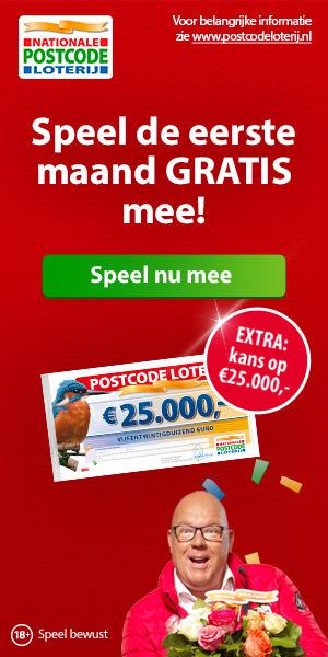 Postcode loterij 1e maand gratis meespelen