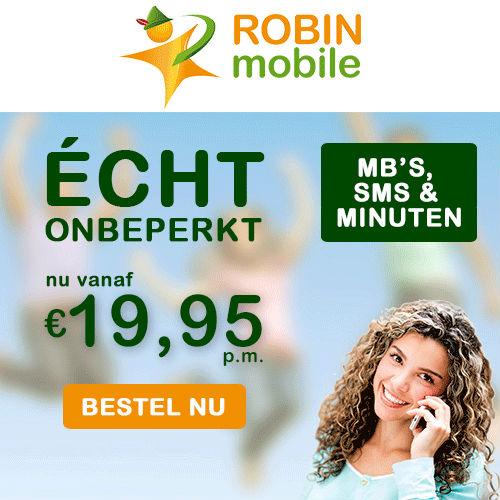 Bij Robin Mobile alles onbeperkt!Je krijgt onbeperkt bellen, sms en data v.a € 19.95 p.m. en met gratis buitenland voordelen.