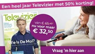 De Televizier van € 65.40 voor 32.50.Wat is er vandaag op Tv? Bestel nu. Extra goedkoop met een korting van 50%. Het Beste Tv magazine van Nederland!