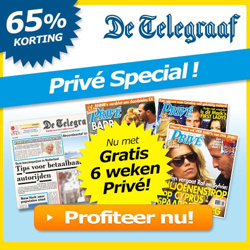 Telegraaf aanbieding met 6 weken gratis Privé magazine