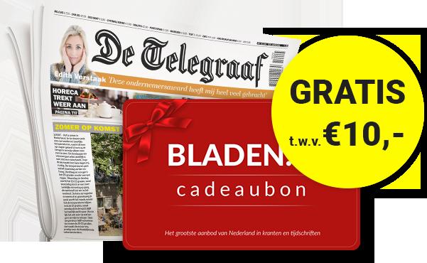 De Telegraaf stuntmet 6maanden een korting van 50% en een gratis tijdschriften cadeaubon van €10.-. Je kunt kiezen uit een abonnement naar keuze.
