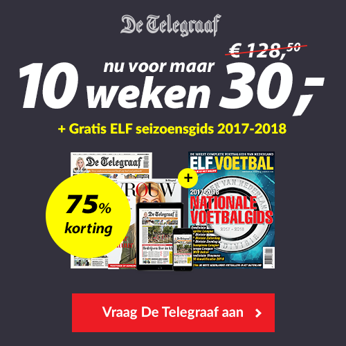 Ontvang een ELF Voetbal Seizoensgids t.w.v. €5,95,-bij eenTelegraaf abonnement van 10 weken met 75% korting. Inclusief de magazines VROUW en VRIJ.