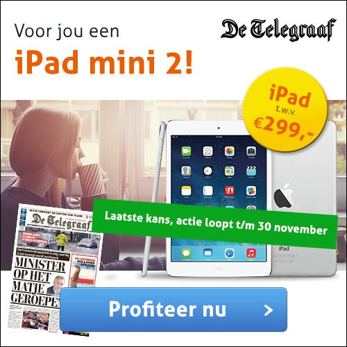 iPad mini 2 t.w.v. €299,- cadeau bij De Telegraaf!