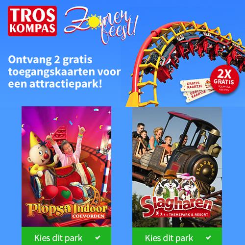 2 gratis tickets voor een Attractiepark! Neem een abonnement op de TrosKompas en ga gratis naar het attractiepark Slagharen (t.w.v. € 40,60)!