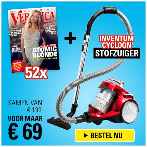 Veronica magazine voor spot prijsje!Nu met een gratis zakloze cycloonstofzuiger van Inventum. Ontvang 52 nummers niet voor € 199.- maar slecht € 69.- inclusief de zakloze stofzuiger!