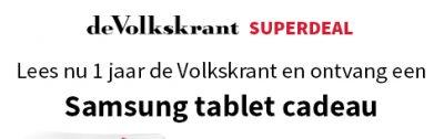 Volkskrant abonnement met 33% korting en een Gratis Samsung tablet t.w.v. €129.- cadeau. Blijf op de hoogte van het nieuws en geniet van je gratis tablet.