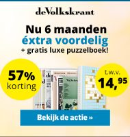De Volkskrant 57% korting en Gratis puzzelboek t.w.v. €14.95