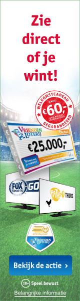 Vriendenloterij voordeel met Eredivisie pakket t.w.v. € 60