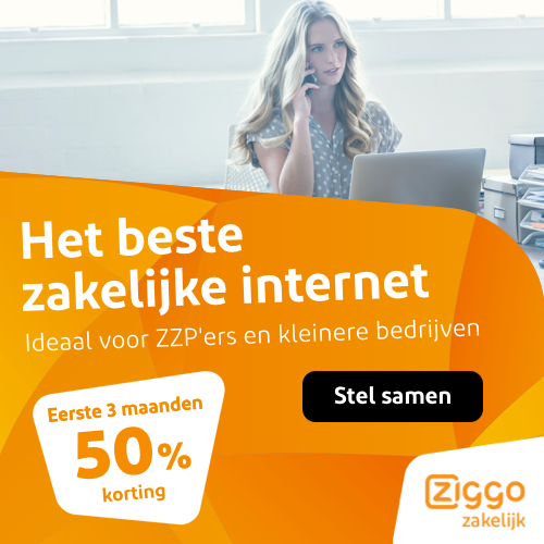 Ziggo zakelijk abonnement voor €37.50 per maand en ontvang de eerste 3 maanden 50% korting.